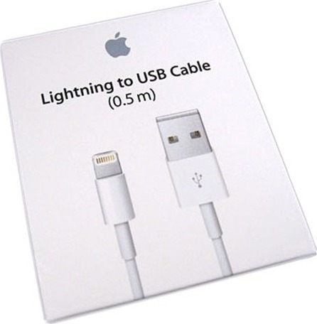 APPLE ME291ZM/A USB to Lightning Cable White 0.5m (Retail Box)